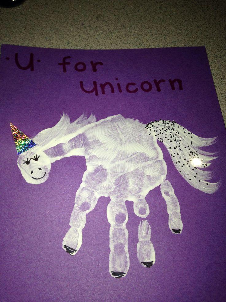 U for unicorn handprints fingerprints footprint crafts for Unicorn crafts for kids