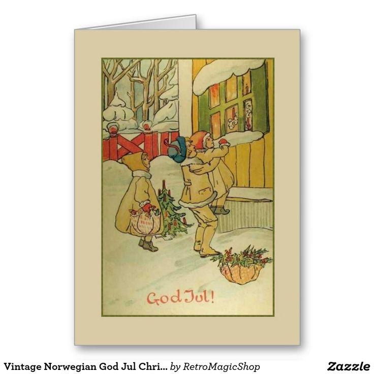 Vintage Norwegian God Jul Christmas Greeting Card