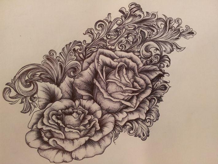 victorian scrollwork  u0026 roses tattoo tattoo placement