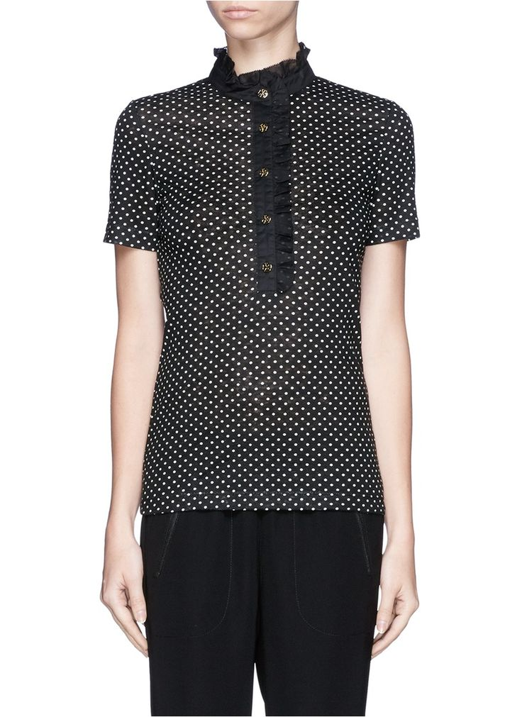 TORY BURCH - 'Lidia' ruffle collar polka dot polo shirt - on SALE | Black T-Shirts Tops | Womenswear | Lane Crawford - Shop Designer Brands Online