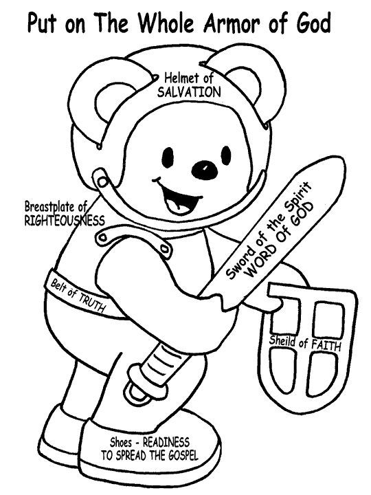 Armor of God Teddy Bear for the small kids to color