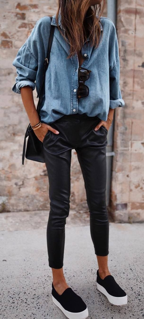 how to wear a denim shirt : bag + leather skinnies + sneakers