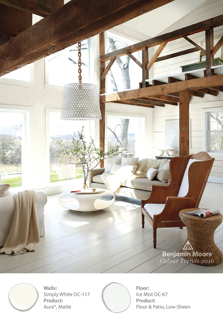Benjamin Mooreu0027s Color Of The Year U0027Simply White,u0027 Allows For The Delicate  Sunlight To Flood This Room And Let The Raw Wood Accents Glow. The Floor Is  Done ...