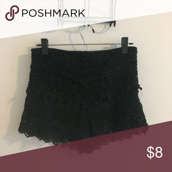 Crochet black shorts Black crochet shorts Zara Shorts