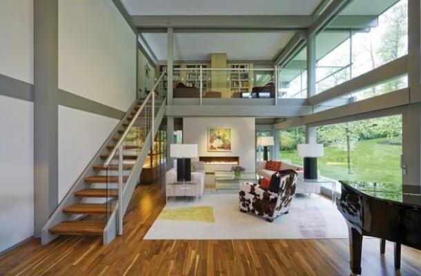 Exterior: Huf Haus Mezzanine Living Room Library