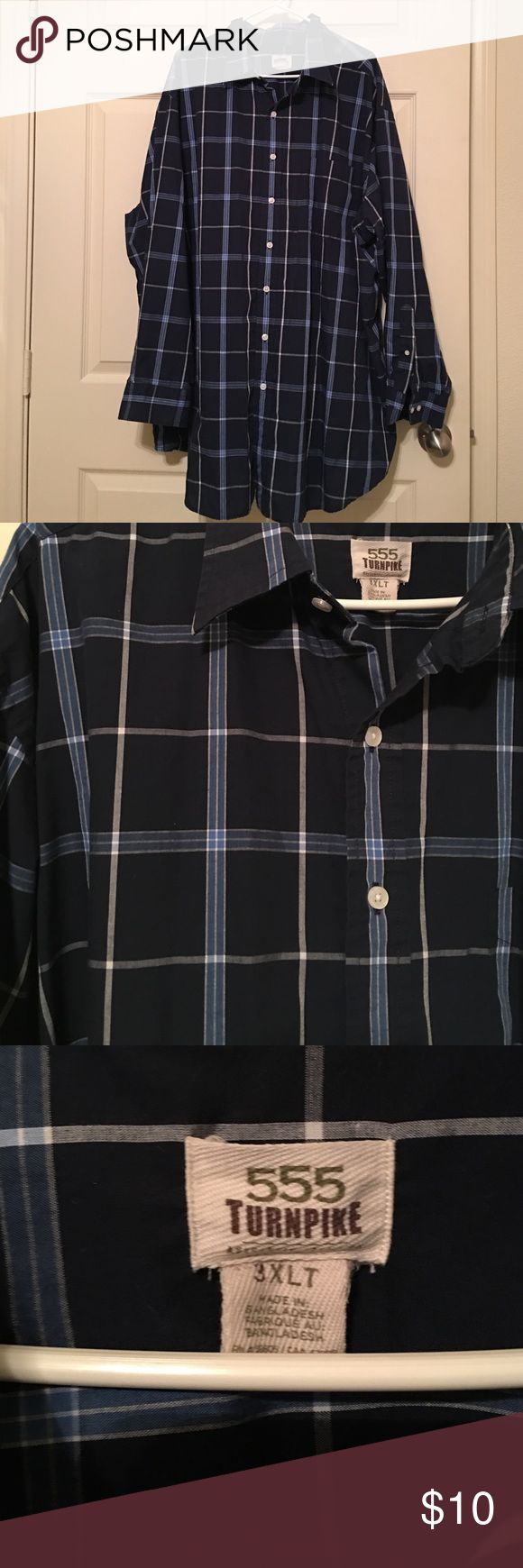 Men's 3XLT big and tall dress shirt Men's 3XLT navy blue dress shirt with light blue and white stripes throughout. Worn once, excellent condition! 555 Turnpike Shirts Polos