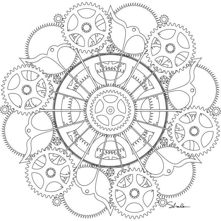 Coloring Steampunk Mandala Pages Book Mandalas