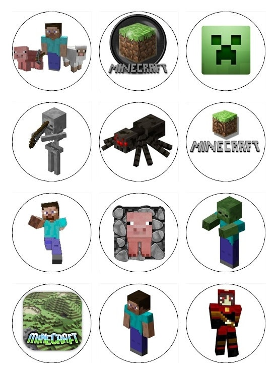 Edible MINECRAFT Cupcake Toppers 12 edible images for Cupcakes, cookies, brownies or any dessert birthday. $6.00, via Etsy.