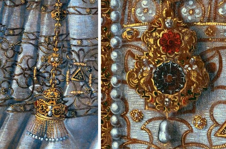 Jewels of Anna Jagiellon from her coronation portrait by Anonymous Painter, 1576 (PD-art/old), Katedra na Wawelu