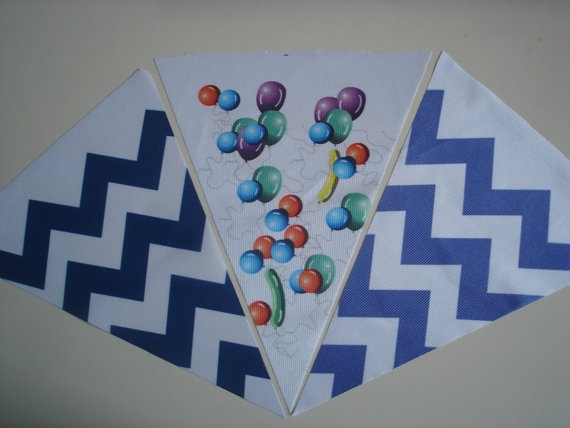 Fabric Bunting Blue Chevron Party Balloon by customflag on Etsy, $19.00
