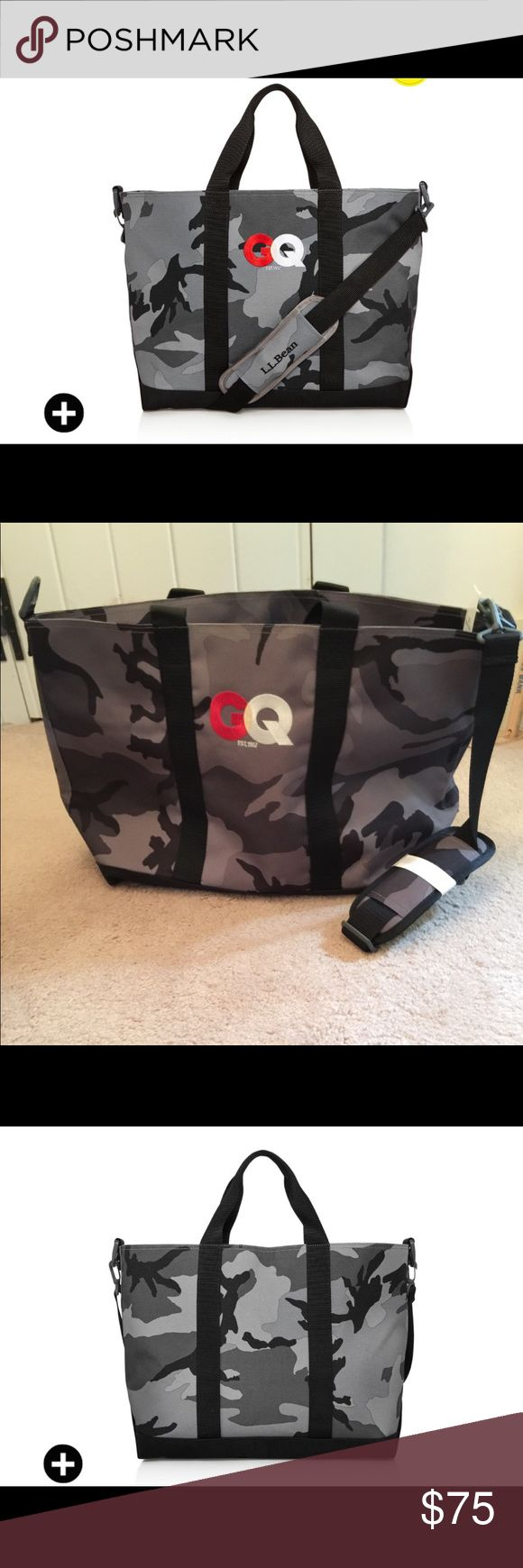 L.L. Bean special edition GQ 60 tote %  authentic L.L. Bean special edition GQ 60 tote NWT  Camouflage tote with iconic GQ logo denier poly exterior shell  thermoplastic interior adjustable nylon shoulder strap reinforced bottom ( 17 L x 15 H x 7 D)  camouflage never been used L.L. Bean Bags