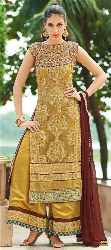 402824: Gold color family unstitched Party Wear Salwar Kameez.