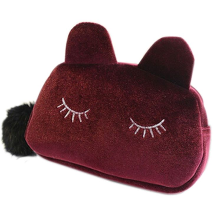 Cartoon Storage Case Travel Makeup Pouch Cosmetic Bag (wine red)