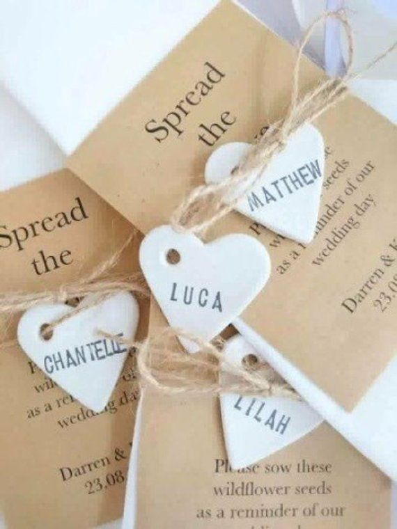 100 Personalised Clay Ceramic Heart Place, Favour/Favor Tags
