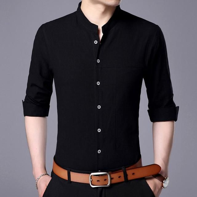 6a5e51741b84 Buy low price Casual Men Shirt Long Sleeve Mandarin Collar Slim Fit Shirt  Men Korean Business Mens at Narvay.com.New Fashion Casual Men Shirt Long  Sleeve ...
