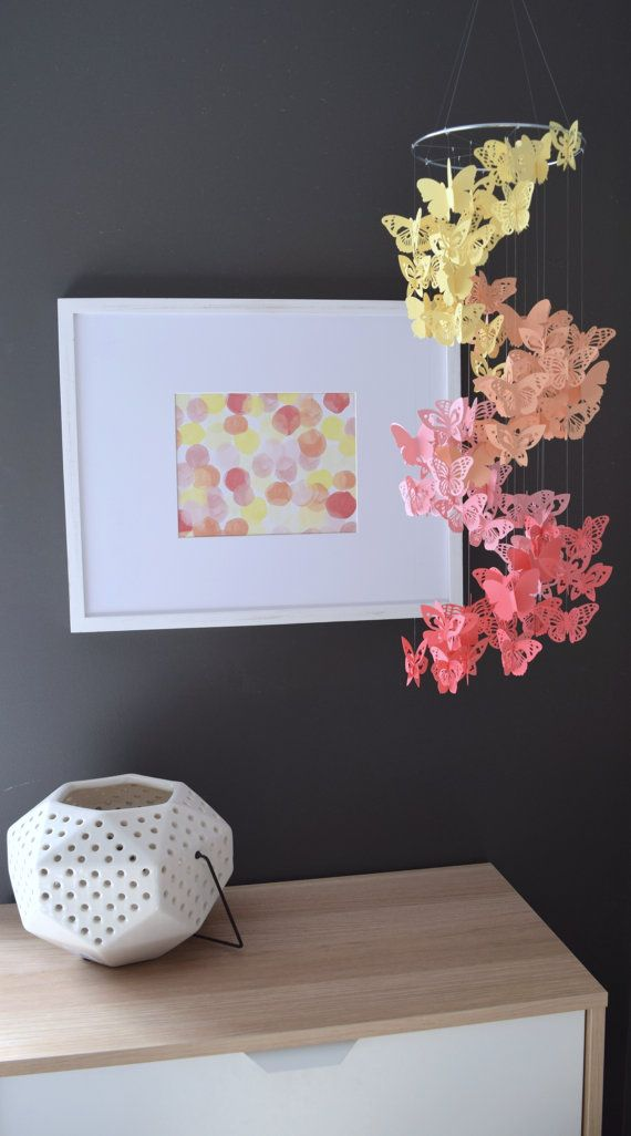 Nursery Spiral Paper Butterfly Mobile in yellow, peach, pink & coral by TrueLoveAndPaper on Etsy