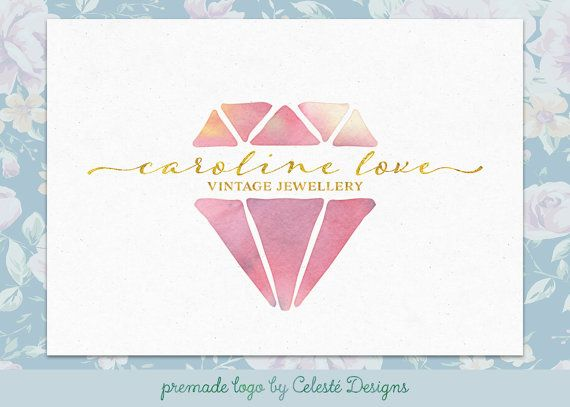 Premade Logo  diamond logo  jewelry logo  by CelesteLogos on Etsy