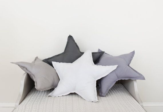 Star shaped Pillow or cushion - french grey, soft cotton. $24.00, via Etsy.