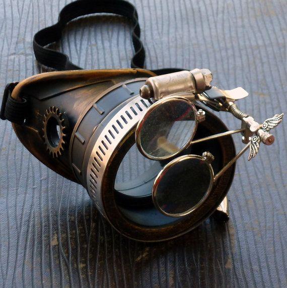 Steampunk lunettes monocle eyepatch costume biker lunettes lentille claire cyber gothique