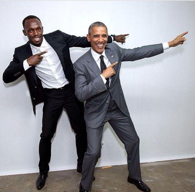 """""""Wa'gwan Jamaica?"""" Usain Bolt & Barack Obama."""