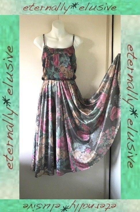 Original Vintage 70s SHUBETTE Flower Print Full Circle Skirt Dress Size UK 10 12