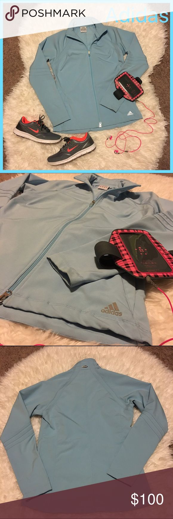 Adidas Women's Blue Climaproof Zip Up Jacket M Like New! Worn Once! name brand: Adidas. size: Medium. color: Light Blue. details: Zip-Up. Two front pockets. This jacket is super cute! Adidas Jackets & Coats