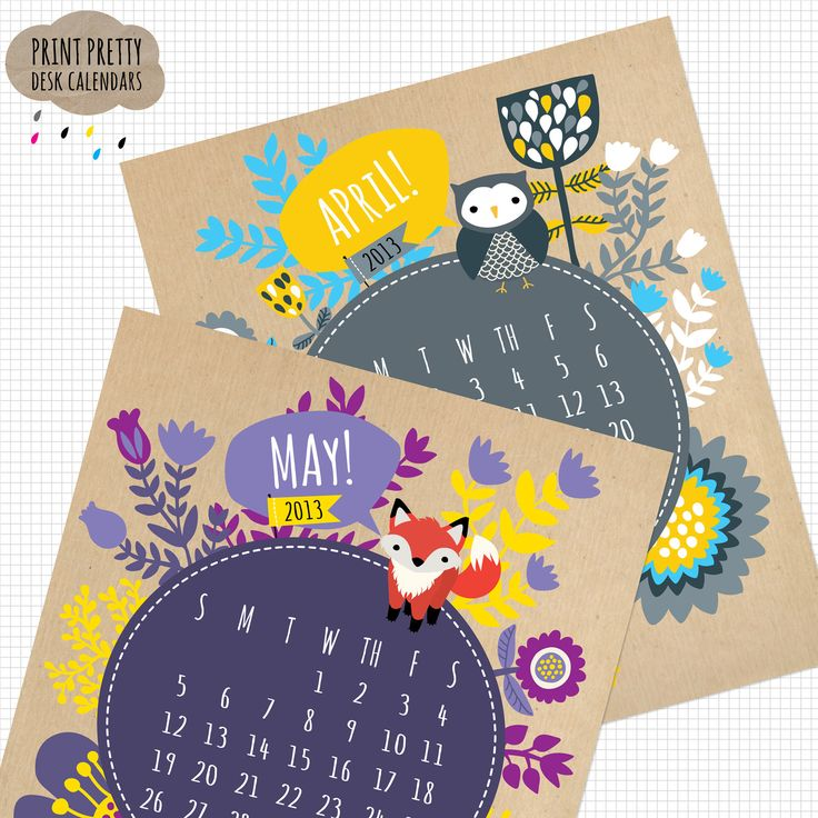 Printable 2013 Calendar - KRAFT version. $8.00, via Etsy.