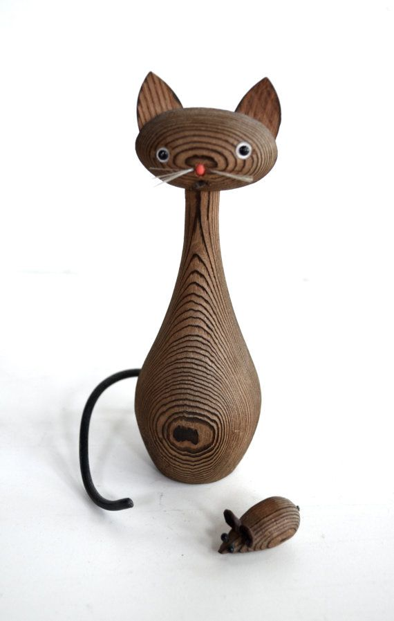 Mid Century Wooden Cat and Mouse Figurines on Etsy, $12.00