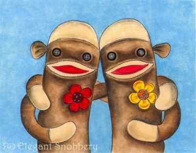 Sock monkey love www.elegantsnobbery.etsy.com
