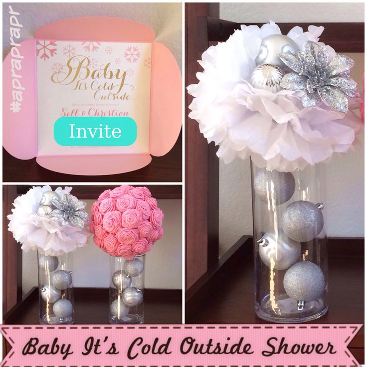 Baby Christmas Party Ideas Part - 39: DIY - Baby Itu0027s Cold Outside Centerpieces - From Dollar Tree - Big Lots -  Paper