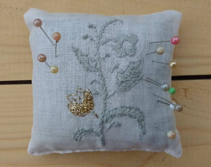 Linen pin cushion with embroidery, dried lavender, vintage style, golden thread