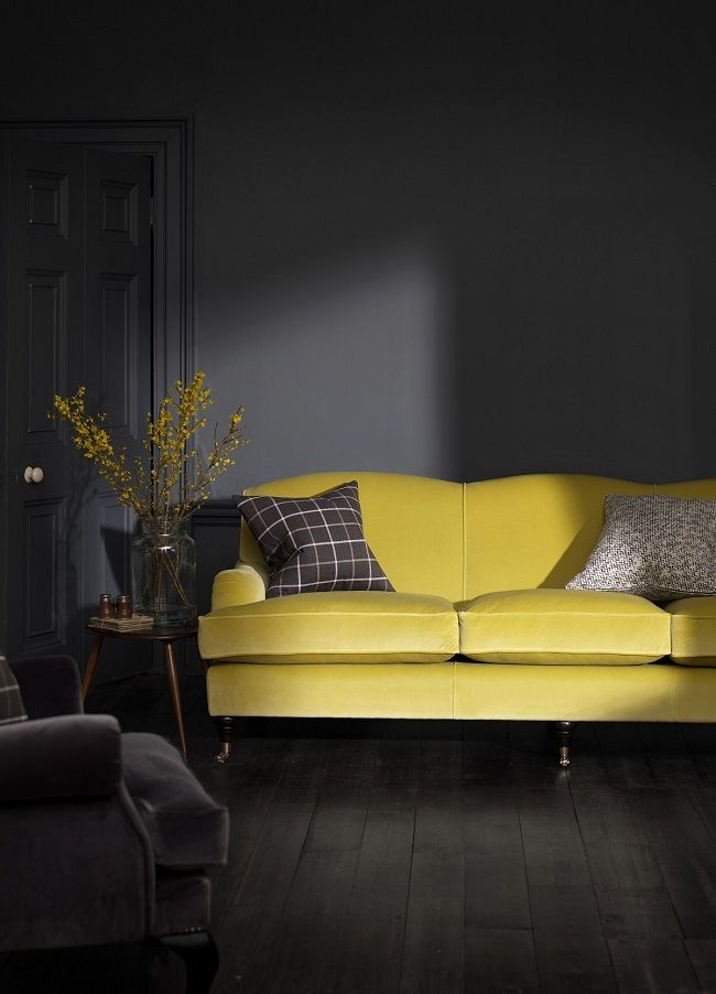 yellow living room ideas, velvet sofa
