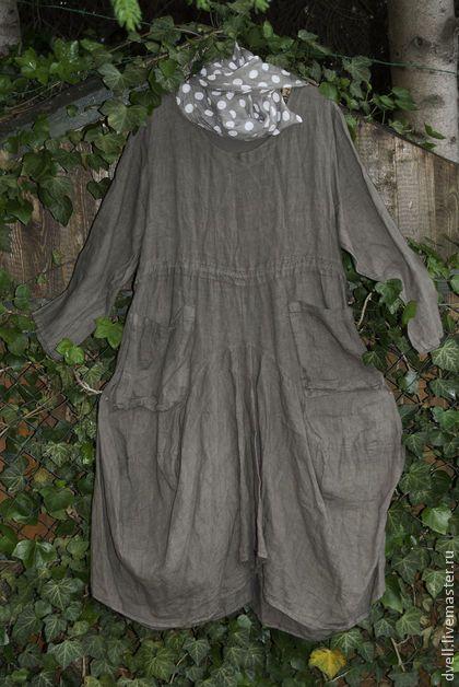 Опять лен тойпе Свобода стиля 54р - коричневый,однотонный,Платье лен,платье из льна