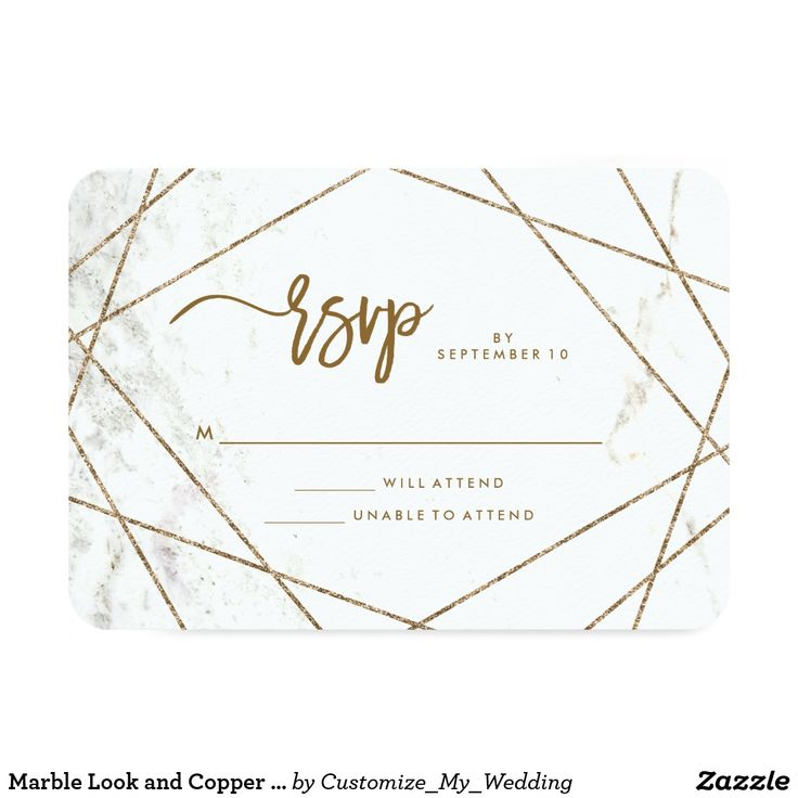 Marble Look and Copper Geometric Wedding RSVP Card These stylish, modern wedding RSVP cards feature a white marble look with faux copper geometric lines and trendy typography. #invitations #weddings