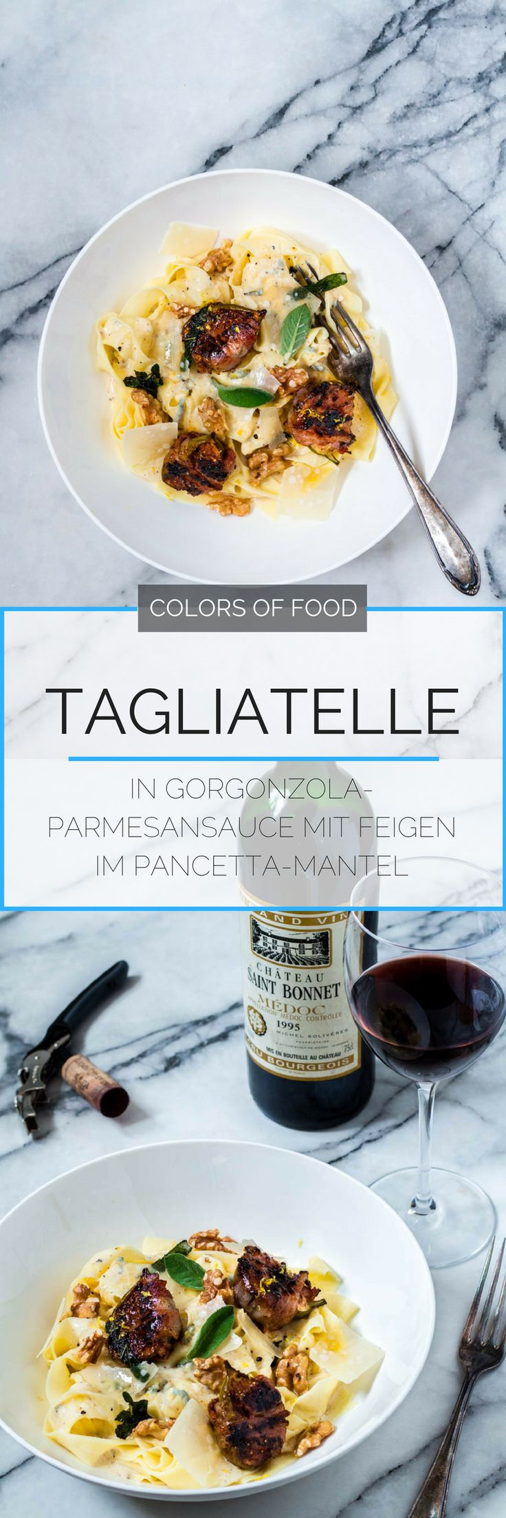 Tagliatelle mit Parmesan-Gorgonzola-Soße und Feigen im Pancettamantel