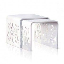 Tavolini bassi per salone plexiglass bianco lucido alzatine per negozi alzate per pasticcerie