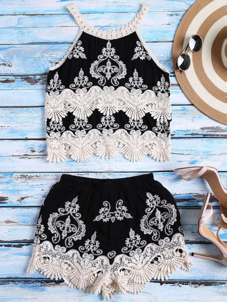 $27.49 Crochet Panel Tank Top and Shorts Set - BLACK ONE SIZE