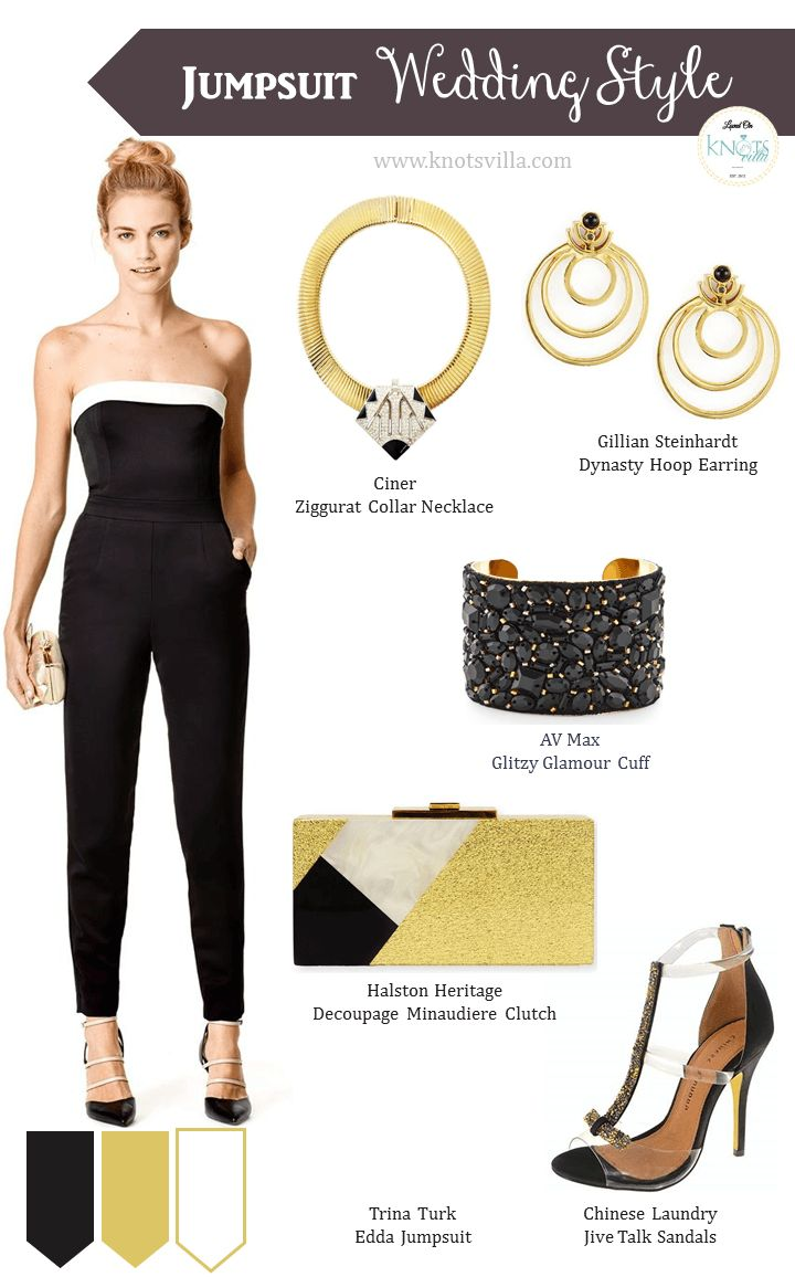 Jumpsuit Wedding Style for a more formal wedding - Black and Gold