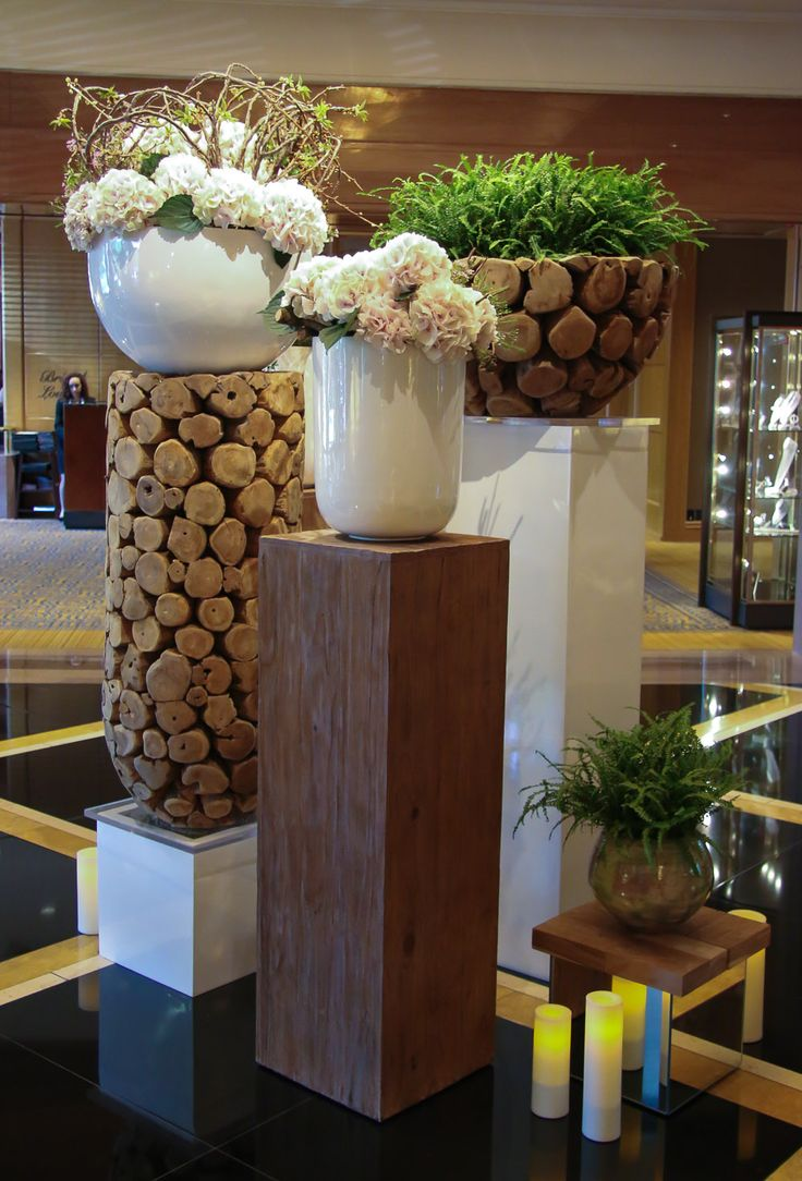 Ferns, greens and hydrangeas in a flower arrangement at Four Seasons Hotel Boston