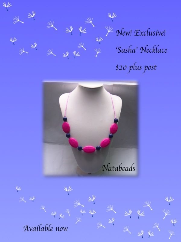 'Sasha' Silicone teething necklace  Available at www.facebook.com/Natabeads