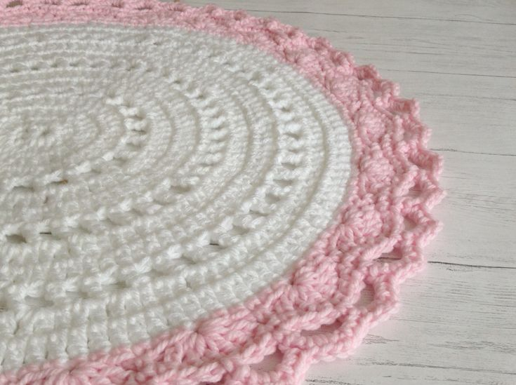 Excited to share the latest addition to my #etsy shop: Nursery Rug, Pink and White Rug, Playmat,  Girls Room Rug, Round Rug, Handmade Rug, Nursery Rug Pale Pink .