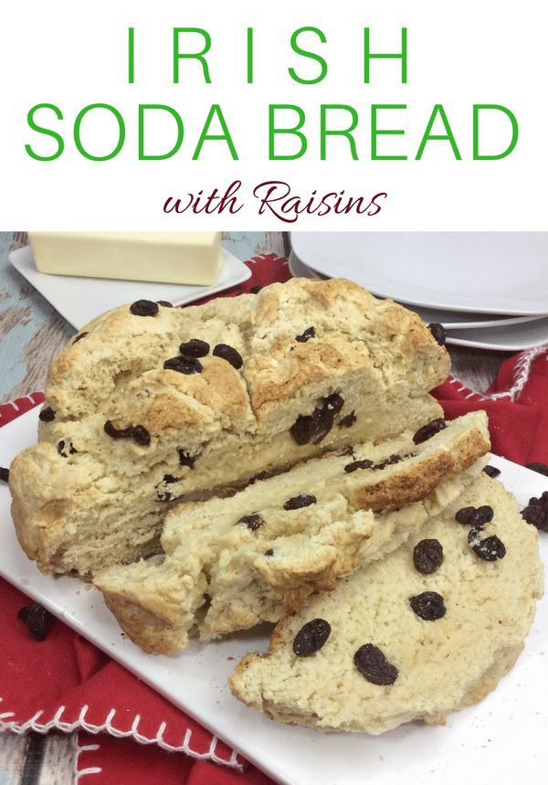 You will love this quick and easy Irish Soda Bread with Raisins recipe made with flour, baking soda, salt, sugar, egg, butter, buttermilk, and raisins for St. Patrick's Day or any time of year! #StPatricksDay #Irish #breadrecipe #easyrecipe #bread #bakingsoda