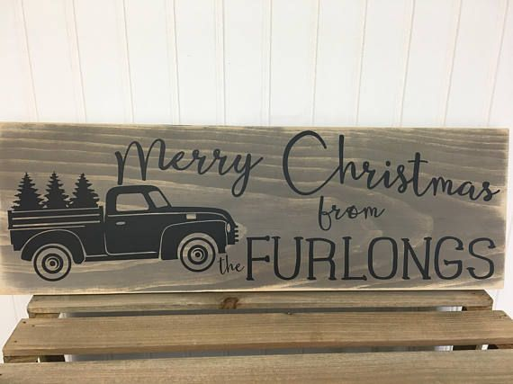 Farmhouse Christmas Sign personalized with family name  Merry