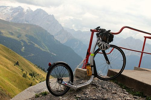 Bike view at Passo Sella in the Dolomites.  #The Dolomites #mountains #view #outdoor #photo #panoramic #Passo Sella #landscape #Italy #travel