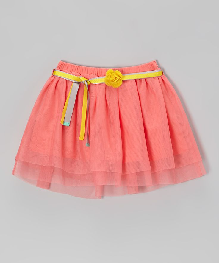 Neon Sugar Coral Belted Tulle Skirt - Toddler & Girls   Daily deals for moms, babies and kids