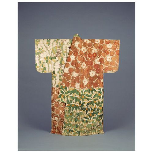 The back of this kosode (predecessor to the modern-day kimono) is divided into quadrants filled with motifs of the four seasons: plum blossoms for spring, wisteria for summer, maple leaves for autumn, and snow-laden bamboo for winter.