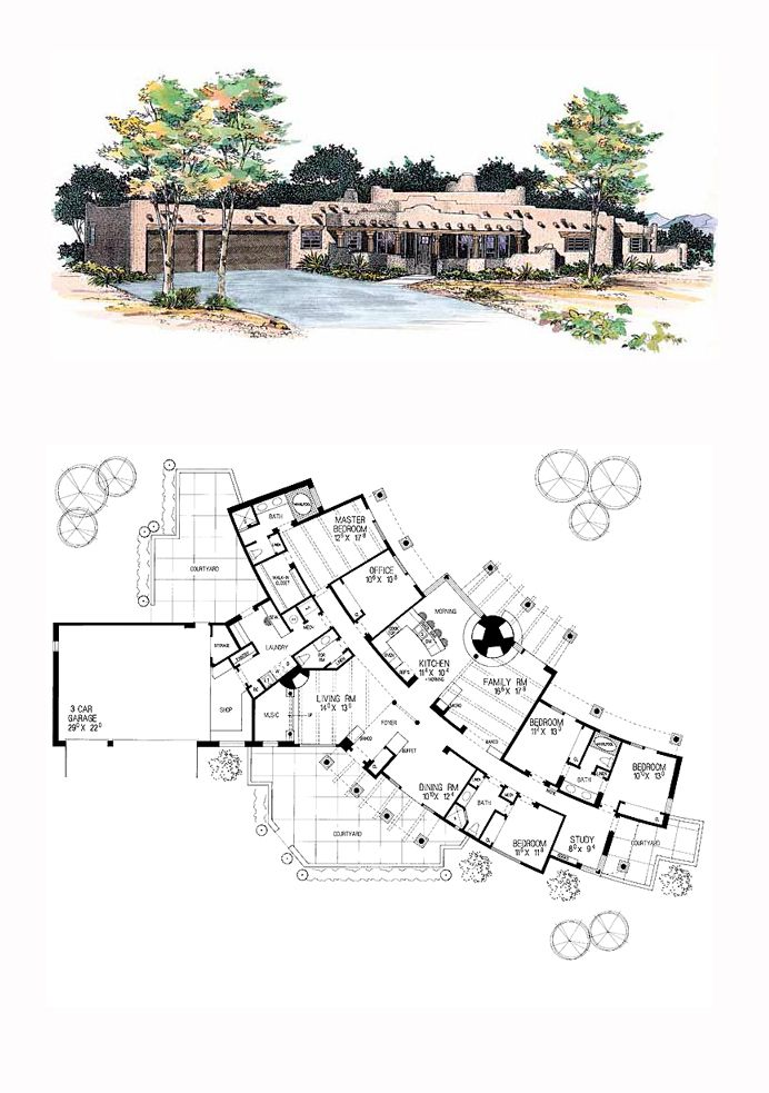 17 best images about santa fe house plans on pinterest for Southwest house plans with courtyard