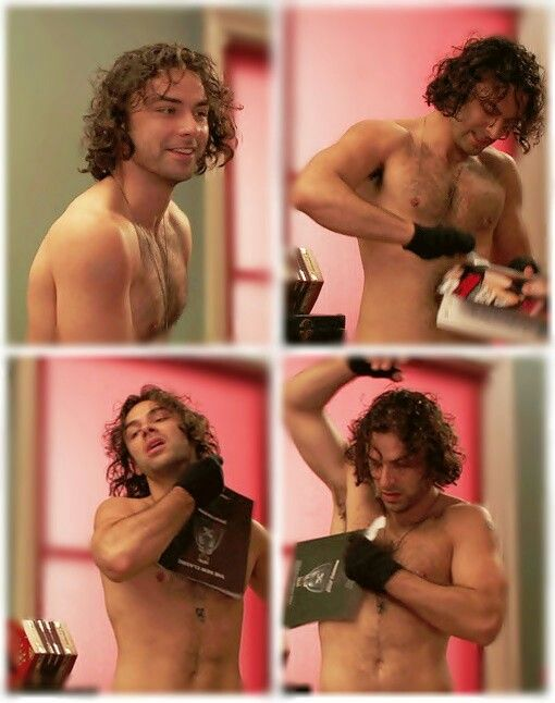 AIDAN TURNER ---- Mitchell getting ready for a date.  Too funny, he's using the sample cologne from a magazine!  ha!