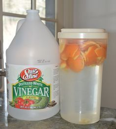 Natural coop disinfectant. Peels from at least 3 oranges in a 2 qt. container. Fill with white vinegar. Let sit 1 month before use. Spray coop after cleaning out all bedding and poop.