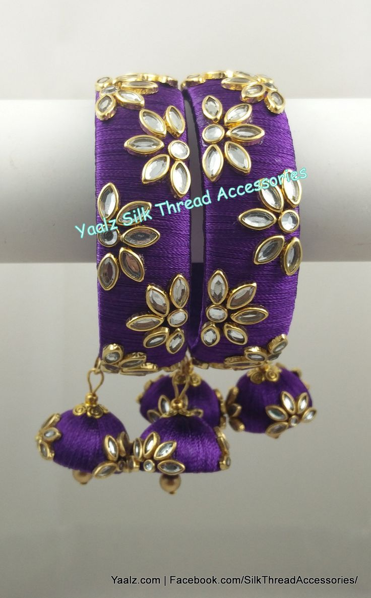 Yaalz Kundan Stone Work Bangle Set In Purple Color !! Price Rs.700 Per Pair For Orders Ping us In WhatsApp +91 8754032250